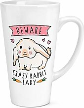 Beware Crazy Hase Lady 17oz große Latte Becher