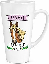 Beware Crazy Horse Lady 17oz große Latte Becher