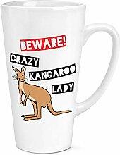 Beware Crazy Känguru Lady 17oz Große Latte Becher