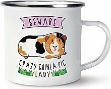 Beware Crazy Meerschweinchen Lady Retro Emaille