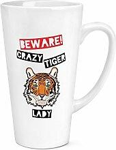 Beware Crazy Tiger Lady 17oz große Latte Becher