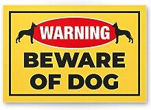 Beware of Dog (gelb) - Hunde Schild, Hinweisschild Gartentor / Gartenzaun - Türschild Haustüre, Warnschild Abschreckung und Einbruchschutz - Achtung / Vorsicht Hund