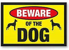 Beware of the dog (gelb) - Hunde Schild, Hinweisschild Gartentor / Gartenzaun - Türschild Haustüre, Warnschild Abschreckung und Einbruchschutz - Achtung / Vorsicht Hund