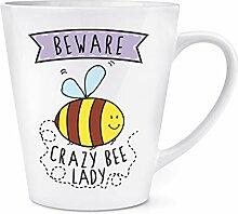 Beware Verrückte Bee Lady 12oz Latte Becher Tasse