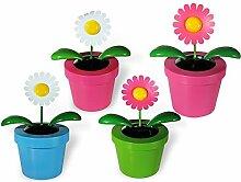 Bewegliche XXL-Blume im Kunststoff Topf mit Solarzelle für den Garten Terrasse