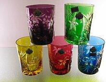 Beyer Bleikristall geschliffen Trink-Glas lila Saft-Glas