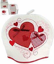 bezaubernde Küchentextilien 29x32 cm Herzduo Applikationen Herzen rot rustikales Landhaus für Kaffeekanne + Teekanne (Kannenwärmer 29x32 cm)