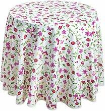 Bezaubernde runde Tischdecke mit rosa Blüten und Erdbeeren, ca. 160 cm, von Provencestoffe
