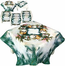 bezaubernde Tischdecke 110 x 110 cm Tannenzweige grün WEIHNACHTEN Weihnachtskugeln Digitaldruck (Mitteldecke 110x110 cm)