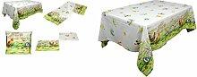 bezaubernde Tischdecke 140x180 cm Rechteckig fröhlicher Bauernhof Baumwolldecke Weiß Farbdruck Bunt Osterdecke Küchendecke Osterdecke Made in Germany (Tischtuch 140x180 cm)
