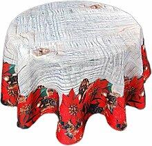 bezaubernde Tischdecke Rund 130 cm WEIHNACHTEN Weihnachtsstern Rot Digitaldruck (130 cm)
