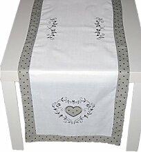 BEZAUBERNDe TISCHDECKE Tischläufer Baumwolloptik Stickerei HERZ Hellgrau Punkte grau Shabby LANDHAUSstil (Tischläufer 40x140 cm)