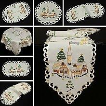 Bezaubernde Tischdecke Tischläufer Creme mit Braun Weihnachten Winter-Landschaft Stickerei (ca. 40x90 cm oval)