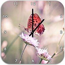 Bezaubernder Schmetterling, Wanduhr Quadratisch