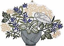 bezauberndes Fensterbild PLAUENER SPITZE® KRÄUTER im Blumentopf grün lila mediterraner Sommer HERBST 21x16 cm + Saugnapf