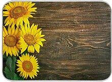Bgift Abtropfmatte aus Holz, Sonnenblumen-Motiv,