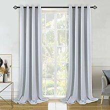 BGment Gardinen Vorhange Grau-Weiß Blickdicht mit