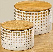 BHC Vorratsdose Set Golden Dots mit Holzdeckel