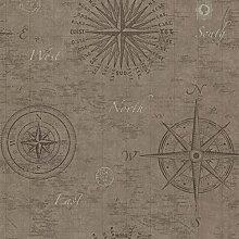 BHF 2604-21214 navigieren Tapete Vintage Kompass - Weizen