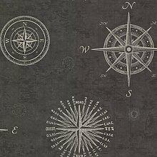 BHF 2604-21215 navigieren Tapete Vintage Kompass - anthrazi
