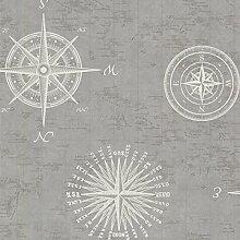 BHF 2604-21216 navigieren Tapete Vintage Kompass - Grau