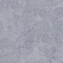 BHF 2604-21236 Kartographie Vintage Weltkarte Tapete - Blau