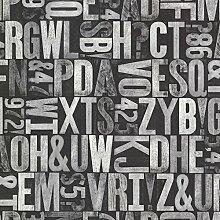 BHF 2604-21251 Briefkopierpresse Typography Tapete - Silber