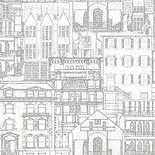 BHF 2604-21257 Fassade Grundzüge Tapete Vintage - Hellgrau