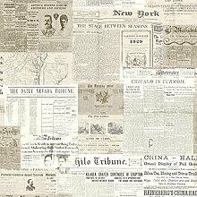 BHF 2604-21267 Gazette Zeitungsprint Tapete Vintage - Khaki