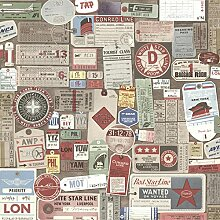 BHF 2604-21268 Souvenir Geschenkanhängern Tapete Vintage - Multi-Farbe