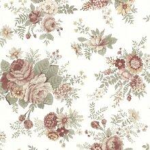 BHF 302-66854 Rosa Tapete Burgunderrot Blumen Medley