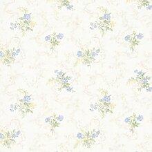 BHF 992–68341Marie zartes florales Bouquet Tapete–Hellblau