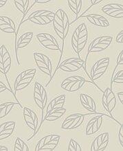 BHF DL40196Sparkle Leaf Tapete–Putty/silber