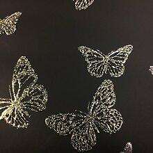 BHF dl40587Sparkle Schmetterling Tapete, Schwarz
