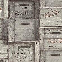 BHF fd22349Wieder Holz Kisten Tapete–Grau