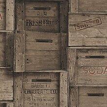 BHF fd22350Wieder Holz Kisten Tapete-Dunkles