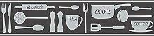 BHF fdb50046CERAMICA Cook Bordüre, selbstklebend, Küche und Bad–Schwarz