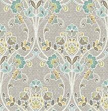 BHF sz001810Kismet Whisper Nouveau Floral Tapete–Grau