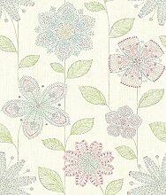 BHF sz001811Kismet Dream grün batik Blumen Tapete