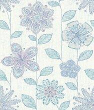 BHF sz001812Kismet Fly Indigo Batik Blumen Tapete