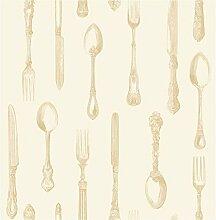 BHF W793318 Ceramica Besteck Küche und Badezimmer Tapete, goldfarben