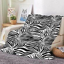 BHFDCR 3D Bedruckte Wohndecken Weißes Zebra