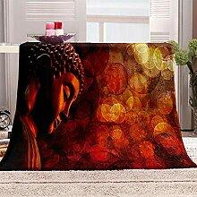 BHFDCR Bedruckte 3D Buddha Wohndecken Kuscheldecke