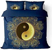BHFDCR Bettbezug Bettwäsche Set 3 Teilig Yin und