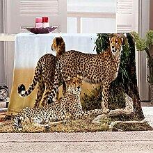BHFDCR Decke 3D Gelber Gepard Bedruckte Wohndecken