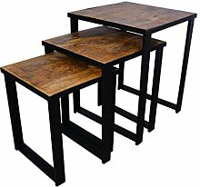 BHP Beistelltisch, 3er Set, Holz, Eisengestell,