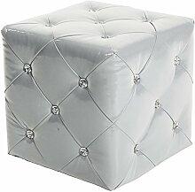 BHP Design MDF Hocker Kunst Leder Strass Steinen Kristalle Sitz Mobiliar Weiss Lounge Sessel