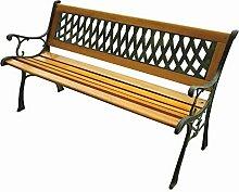 BHP Möbel Gartenbank 2-Sitzer Sitzbank Hartholz mit Armlehnen Gusseisen