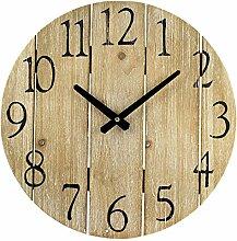 BHP Retro Wand Uhr Zeit Anzeige Holz Optik Ziffern