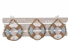 biazd SE109_ 01Rettungsring mit Haken zum Aufhängen, Holz, White/blau, 46x 15.5x 7.5cm